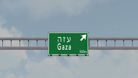4K Passing under Gaza Israel Highway Sign with Matte Photorealistic 3D Animation