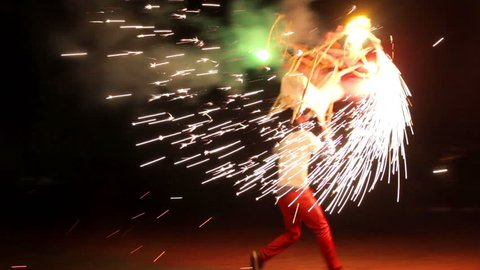 Oaxaca, Mex. 2015:FULL SHOT-HANDHELD SHOT. A man carry a bull figure full with fireworks burning during village feast. Numerous tourist regions of Mexico preserve varied and colorful traditions.