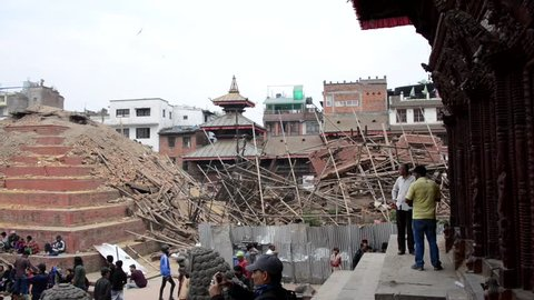 KATHMANDU, NEPAL - APRIL 26, 2015: Durbar Square, a UNESCO World Heritage Site, is severely damaged after the major earthquake on 25 April 2015.
