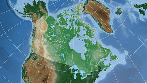 Ontario province extruded on the physical map of Canada. Rivers and lakes shapes added. Colored elevation data used. Elements of this image furnished by NASA.