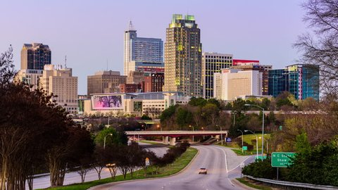 Raleigh, North Carolina, USA downtown time lapse.