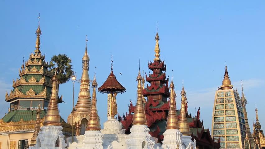 Swedagon Temple at sunset, Yangon, Myanmar. | Shutterstock HD Video #9832412