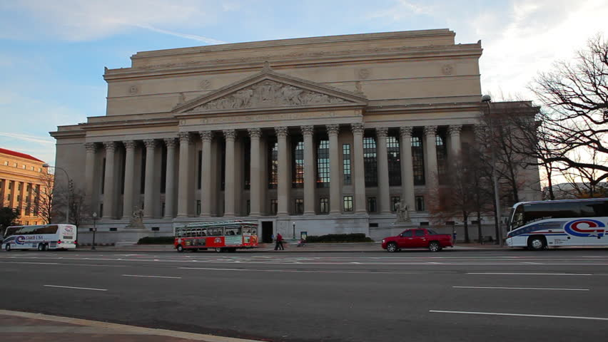 Washington, DC/United States - November 2012: A static shot of The U.S. Treasury building and its grounds in Washington DC.