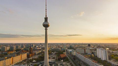 berlin skyline cityscape timelapse at the sunset day to night transition