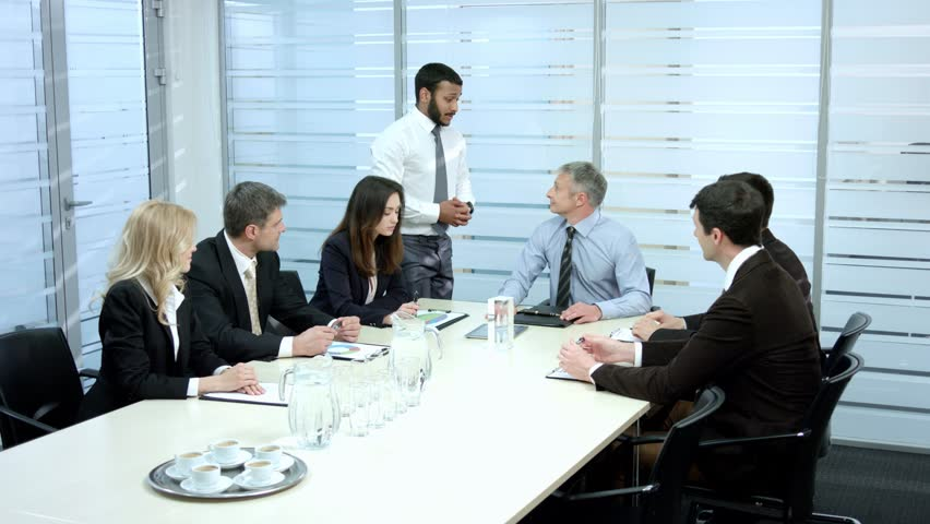 Business meeting in the conference hall. Negotiations businessmen. | Shutterstock HD Video #9875012