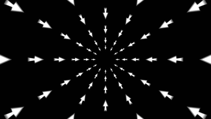 Loopable seamless cyclic animated kaleidoscopic motion background with flight thru arrows in circular motion. (full HD 1920x1080 14s/25fps). | Shutterstock HD Video #9878102