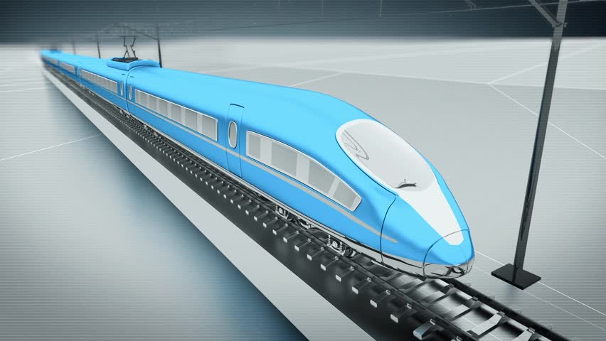 Blue high speed passenger train. Front view. Looping animation background. | Shutterstock HD Video #9881402