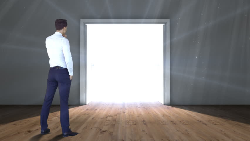 Digital animation of Door opening to light watched by businessman | Shutterstock HD Video #9910310