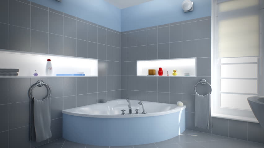 Home Interior: A Gray/blue Bathroom Stock Footage Video 991582 |  Shutterstock