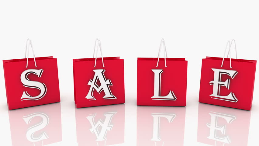 Red shopping bags with inscription SALE | Shutterstock HD Video #9921212