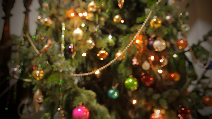 slow dolly shot of a christmas tree with glass balls and decoration hd stock video - Christmas Twinkle Lights