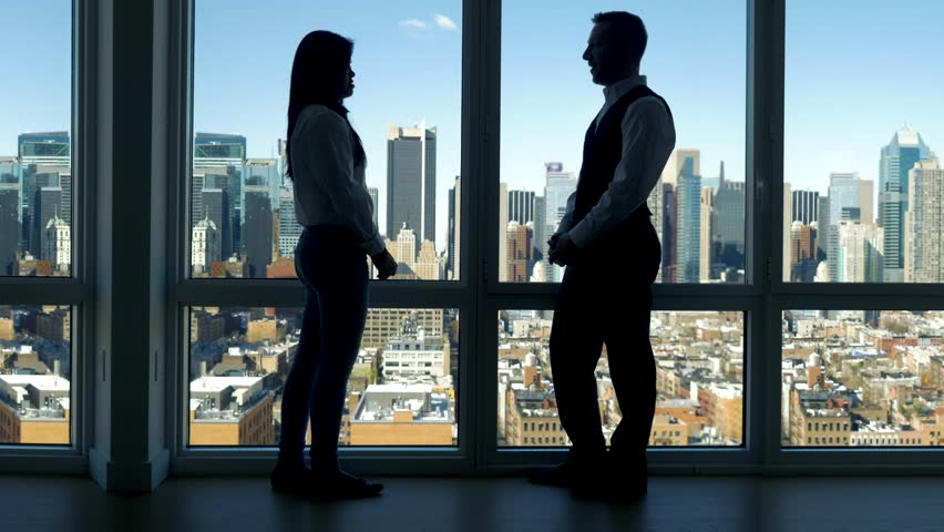 Two Business People Standing In Front Of City Panorama